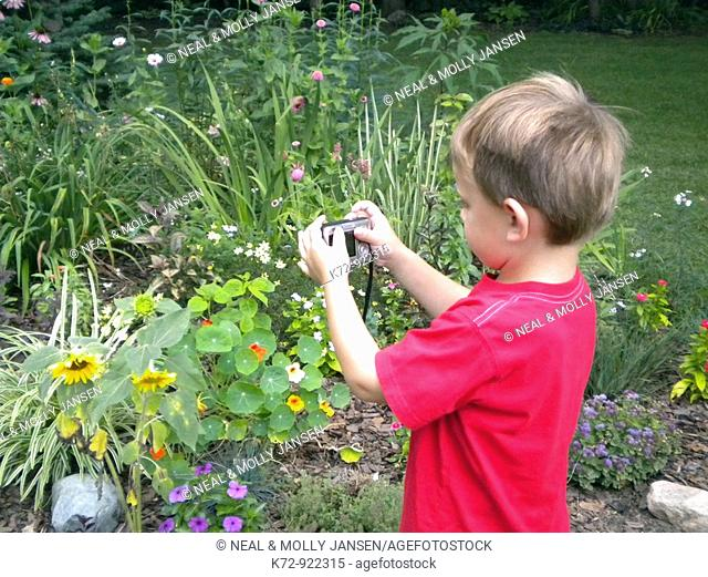 Young boy taking pictures of flowers