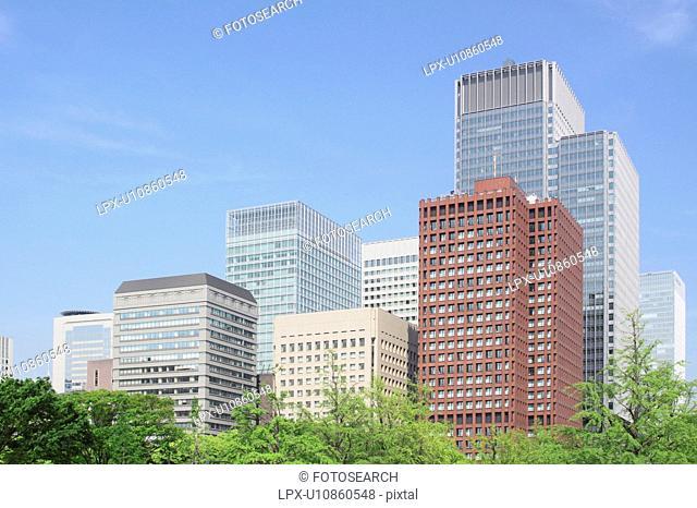 Office buildings in Marunouchi, Tokyo Prefecture, Honshu, Japan