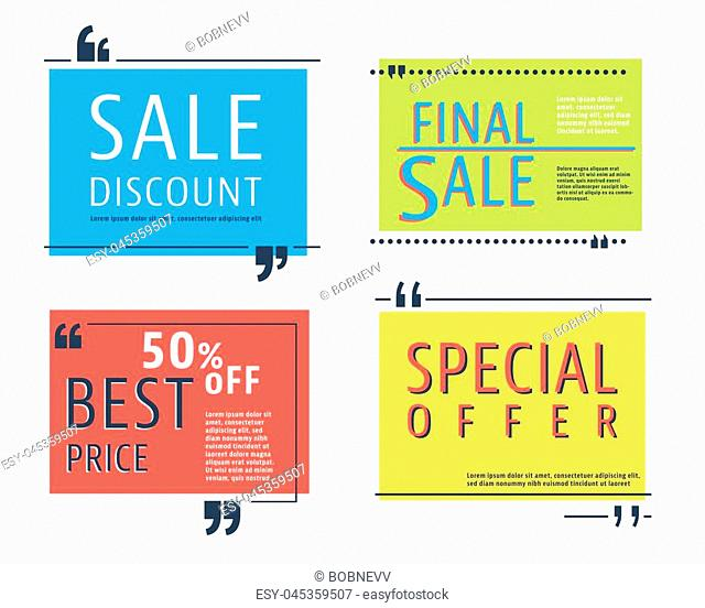 Sale square template set. Special offer banner and speech box isolated on white background. Vector illustration