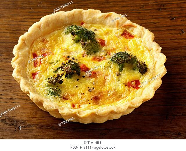 Individual broccoli red pepper tart