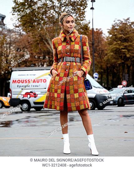 PARIS, France- October 2 2018: Sarah Ellen on the street during the Paris Fashion Week