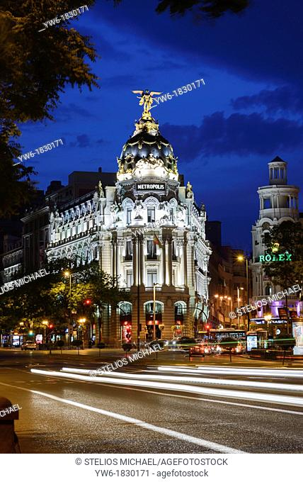 Metropolis Building at Dusk, Gran Via, Madrid,Spain