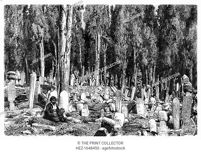 Cypress trees in the cemetery of Scutari, Turkey, 1895. From The Universal Geography with Illustrations and Maps, division XVII