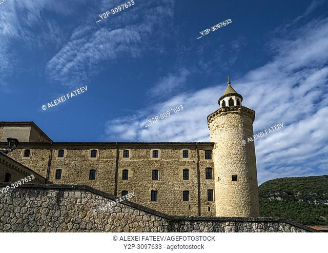 Benedictine monastery of San Salvador de Oña of 11th century in small town Oña, Castile and Leon, Spain