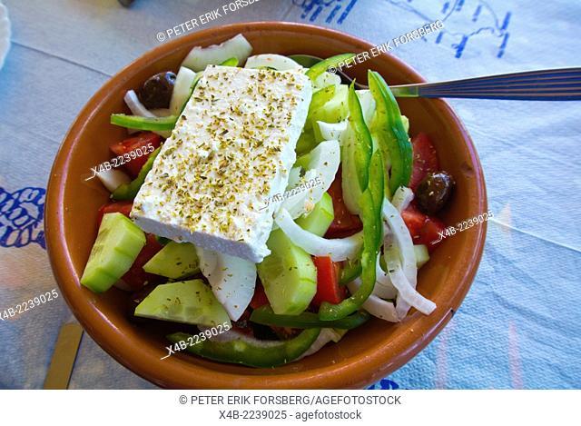 Greek salad, Faliraki resort, Rhodes island, Dodecanese islands, Greece, Europe