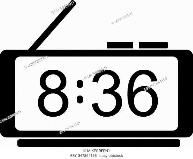 Digital clock icon. Flat design. Silhouette vector illustration