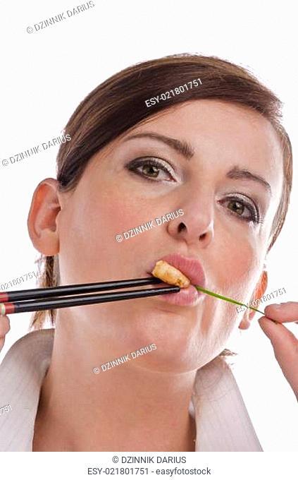 Woman with chopsticks
