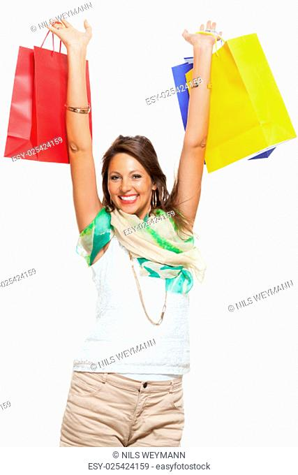 young stylish woman with colorful shopping bags sale sale isolated against white background