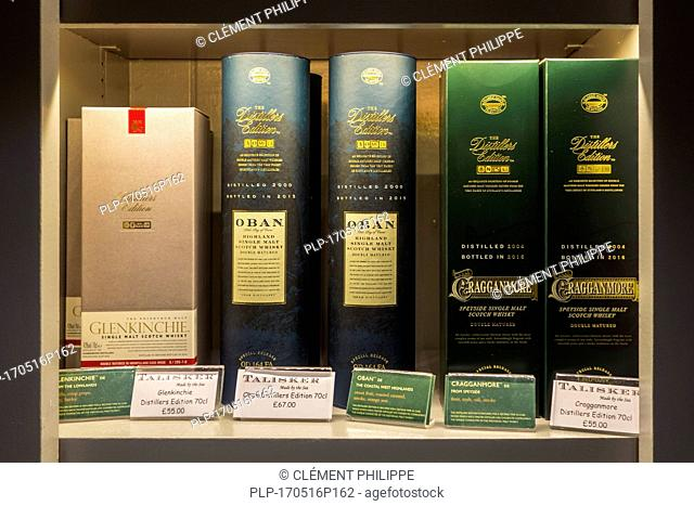 Assortment of single malt Scotch whiskies in boxes at the Talisker distillery in Carbost, Scotland on the Isle of Skye