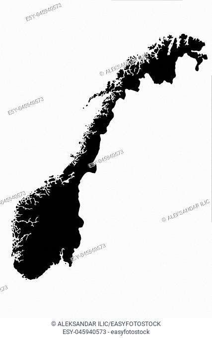 Norwegian Map Isolated On White Background 3d Illustration