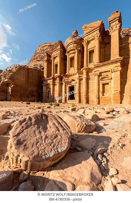 Monastery, rock temple Ad Deir, rock tomb, Nabataean architecture, Khazne Faraun, mausoleum in the Nabataean city Petra, near Wadi Musa, Jordan