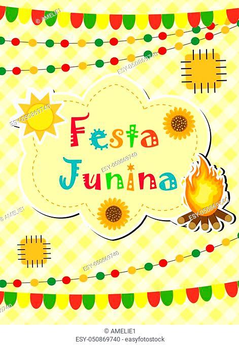 Festa Junina greeting card, invitation, poster. Brazilian Latin American festival template for your design. Vector illustration