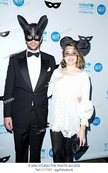 David Walton and Majandra Delfino attend UNICEF Black & White Masquerade Ball at Masonic Lodge at Hollywood Cemetery on October 30, 2015 in Los Angeles