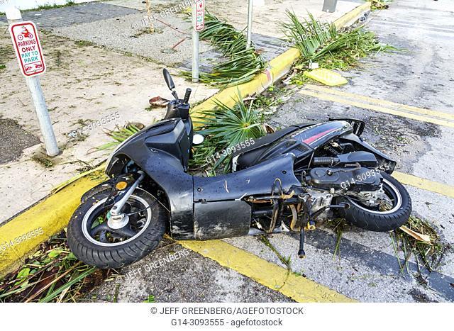 Florida, Miami Beach, Hurricane Irma, damage, fallen motor scooter, debris, wind damage