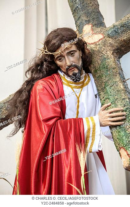 Antigua, Guatemala. Sculpture of Jesus Carrying the Cross. Church of San Jose (Cathedral of Santiago) (St. James)