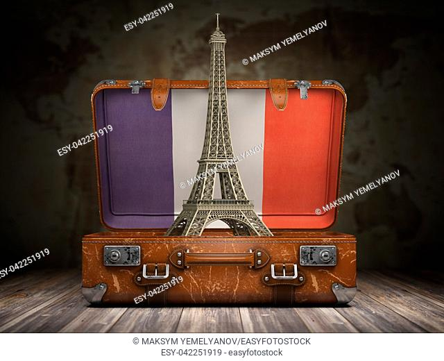 Trip to Paris. Travel or tourism to France concept. Eiffel tower and vintage suitcase with flag of France on the map of world background