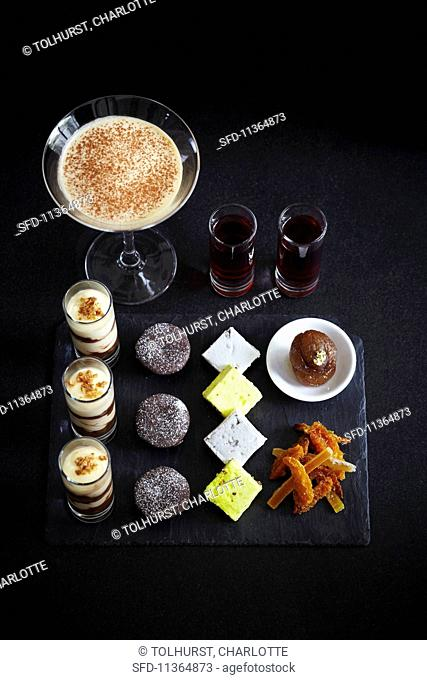 Various luxury deserts, and espresso Martini and liqueur