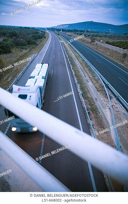 Traffic in freeway. Comunidad Valenciana, Spain
