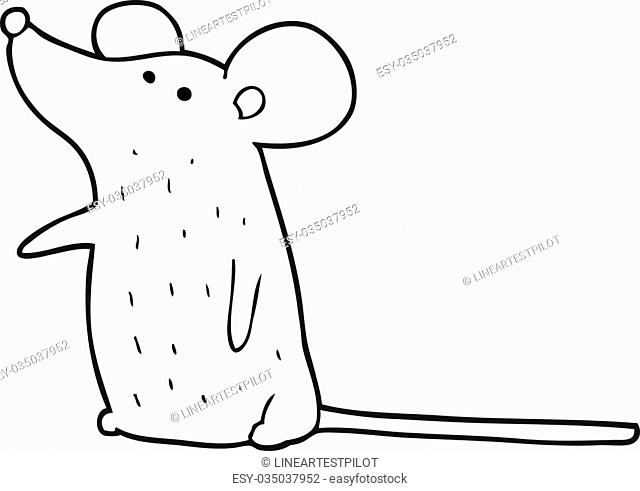 freehand drawn black and white cartoon mouse