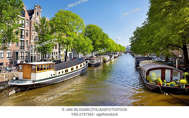 Houseboat barge, Amsterdam canal - Holland Netherlands