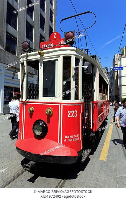 Old tram in Istiklal Caddesi (street). istanbul, Turkey