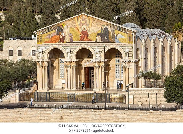 Church of all nations also called agony basilica in the garden of Gethsemani on the Mount of Olives. , Jerusalem, Israel