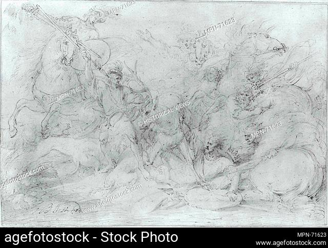 Study for Alexander III, King of Scotland, Saved from a Stag by Colin Fitzgerald. Artist: Benjamin West (American, Swarthmore