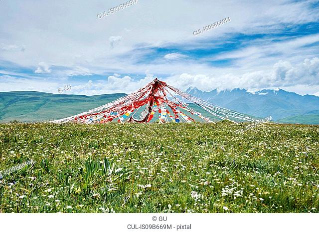Prayer flags in landscape, Luhuo, Sichuan, China