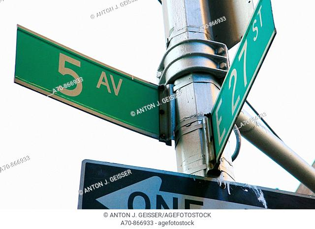 Street Sign. Fifth Avenue and East 27th Street, New York City, USA