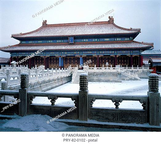the Hall of Great Supremacy in the Forbidden City,Beijing,winter