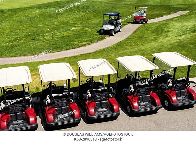 A row of golf carts at the Dunes golf course in Kamloops, BC, Canada