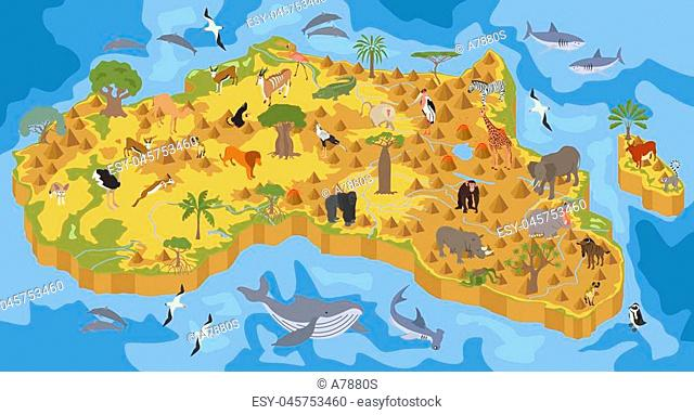 Flat 3d isometric Africa flora and fauna map constructor elements. Animals, birds and sea life isolated on white big set