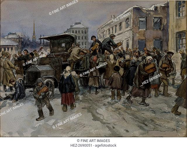 Hungry workmen in Petrograd robbing a military lorry of bread, 1920