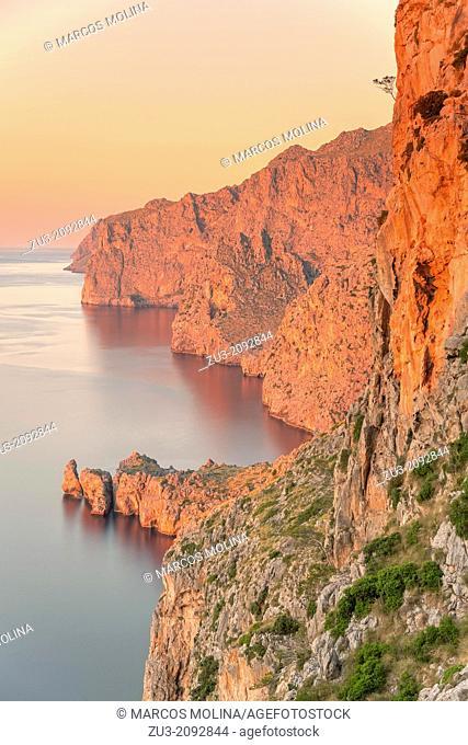 Northwest coast of Majorca at sunset. Morro des Capellans peninsula near La Calobra. Escorca area. Balearic islands, Spain