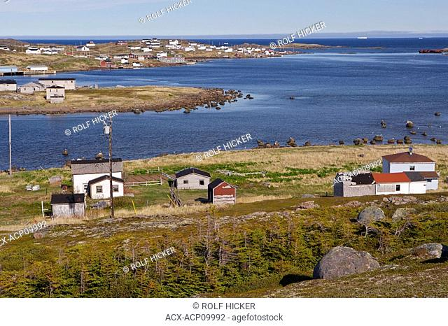 Town of Red Bay seen from the Boney Shore Trail, Red Bay, Labrador Coastal Drive, Viking Trail, Strait of Belle Isle, Southern Labrador, Newfoundland & Labrador