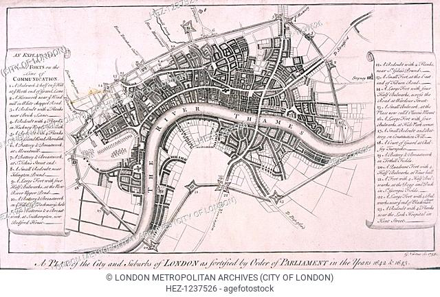 Map of London showing English Civil War Fortifications, c1642, (c1750). Plan of the City of London and surrounding area showing fortifications erected during...