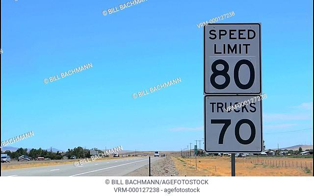 Idaho speed limit 80 mph sign fast cars in Western USA near Boise ID