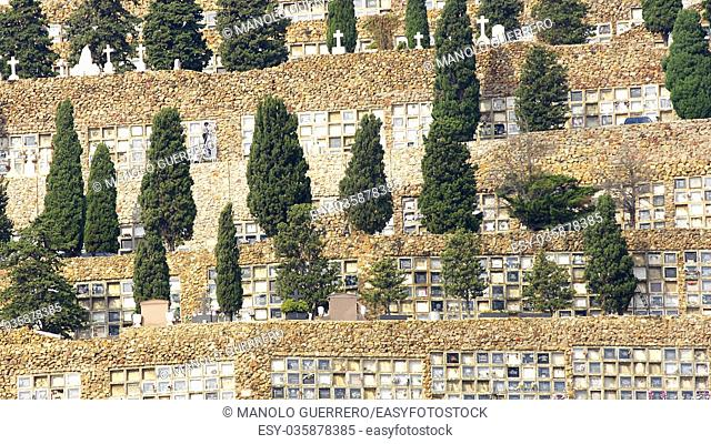 View of Montjuic cemetery in Barcelona province of Catalunya, Spain