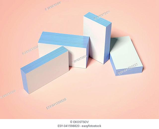 Four stacks of business cards isolated on orange background. 3d rendering