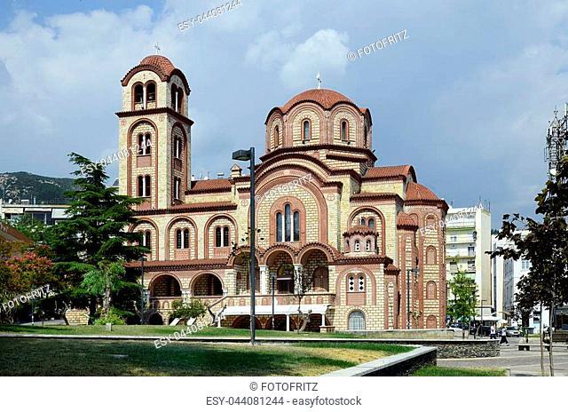 Xanthi, Greece - September 15, 2016: Unidentified peopleand church of Saint Sophia