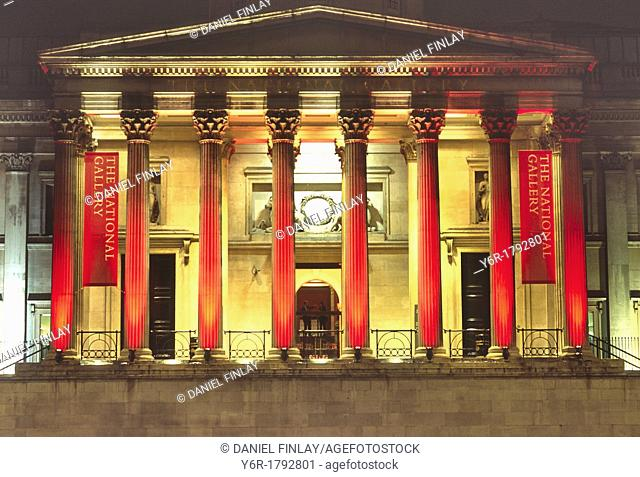 The National Gallery in London, England, illuminated at night