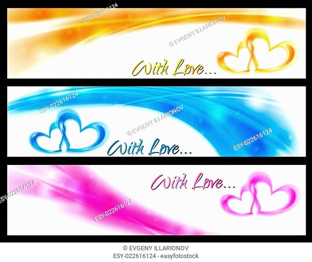 Waves vector banners with abstract hearts
