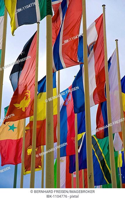 International flags in front of Messe Berlin fairgrounds, Berlin, Germany