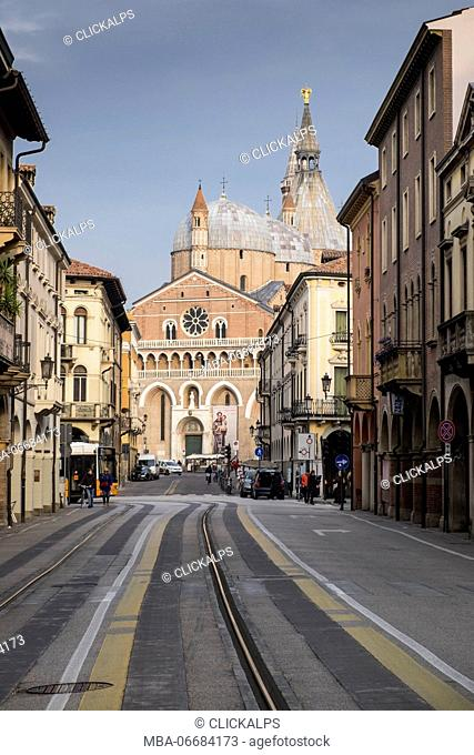 Padua, Veneto, North Italy, Europe. View of Basilica of Saint Anthony down the road
