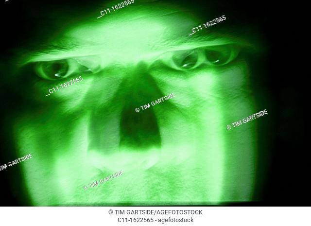 green evil menacing face