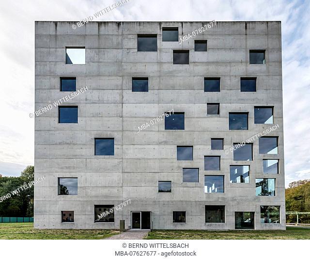 Essen, North Rhine-Westphalia, Germany, Zollverein cube or Sanaa building in Essen Stoppenberg near the Zollverein Coal Mine