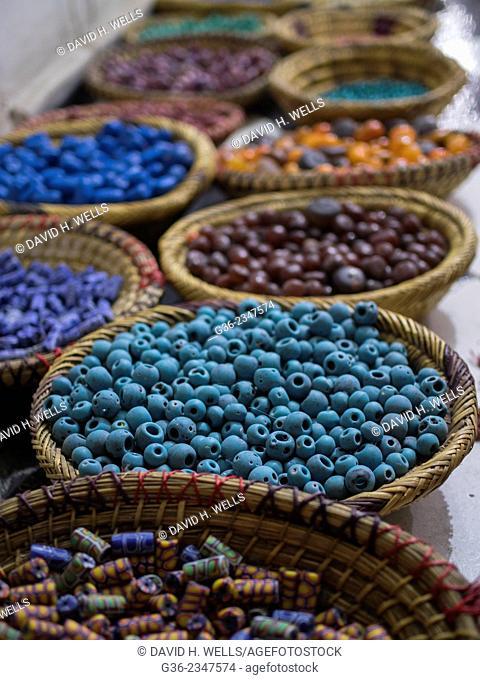 Baskets full of ceramic beads, Marrakesch, Morrocco