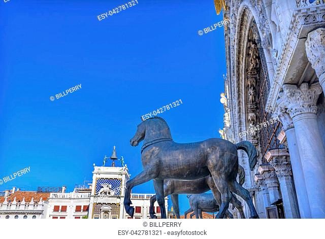 Saint Mark's Basilica Bronze Horses Clock Tower Piazza San Marco Saint Mark's Square Venice Italy. First erected in 1173