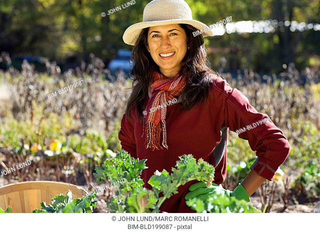 Ecuadorian woman gardening