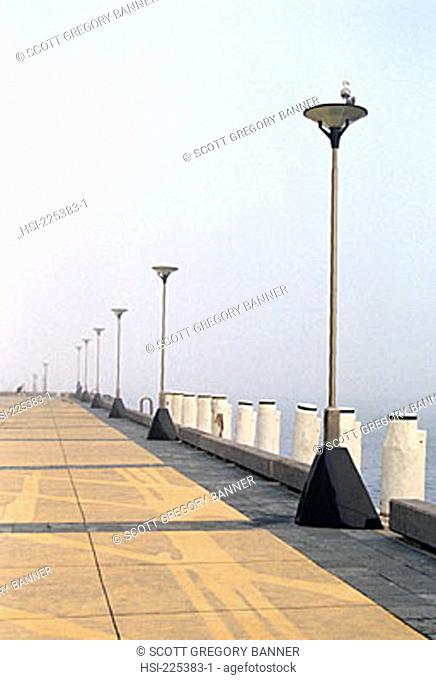 wharf, boardwalk, light-poles, jetty, coast, seaside, seafront, architecture, promenade, walkway